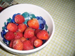 Miska čerstvých umytých jahod